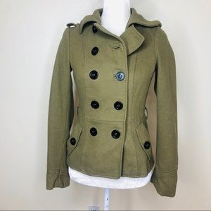 H & M Divided Army Green Pea Coat